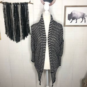 Free People navy & white gray open front cardigan